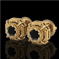 1.11 CTW Fancy Black Diamond Solitaire Art Deco Stud Earrings 18K Yellow Gold - REF-100W2H - 37452