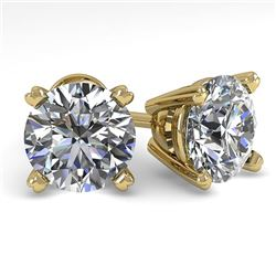 2.53 CTW Certified VS/SI Diamond Stud Earrings 18K Yellow Gold - REF-684T5X - 32314