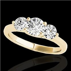 2 CTW H-SI/I Certified Diamond 3 Stone Solitaire Ring 10K Yellow Gold - REF-281N8Y - 35387
