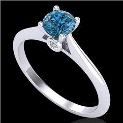 0.56 CTW Fancy Intense Blue Diamond Solitaire Art Deco Ring 18K White Gold - REF-81T8X - 38188