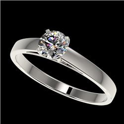 0.51 CTW Certified H-SI/I Quality Diamond Solitaire Engagement Ring 10K White Gold - REF-51R3K - 364
