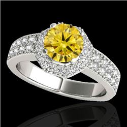 1.4 CTW Certified Si Fancy Intense Yellow Diamond Solitaire Halo Ring 10K White Gold - REF-172Y5N -
