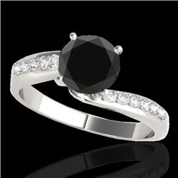 1.15 CTW Certified Vs Black Diamond Bypass Solitaire Ring 10K White Gold - REF-49X6T - 35066