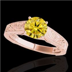 1.5 CTW Certified Si Fancy Intense Yellow Diamond Antique Ring 10K Rose Gold - REF-236M4F - 35199