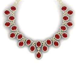 81 CTW Royalty Designer Ruby & VS Diamond Necklace 18K Yellow Gold - REF-1618N2Y - 38624