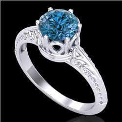 1 CTW Intense Blue Diamond Solitaire Engagement Art Deco Ring 18K White Gold - REF-180F2M - 38118