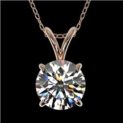 1.28 CTW Certified H-SI/I Quality Diamond Solitaire Necklace 10K Rose Gold - REF-178X8T - 36777
