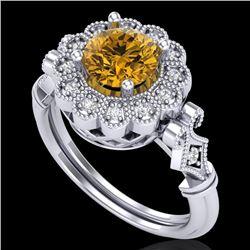 1.2 CTW Intense Fancy Yellow Diamond Engagement Art Deco Ring 18K White Gold - REF-218X2T - 37833