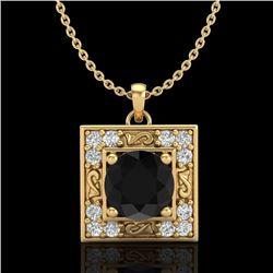 1.02 CTW Fancy Black Diamond Solitaire Art Deco Stud Necklace 18K Yellow Gold - REF-70T9X - 38166