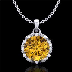 1.36 CTW Intense Fancy Yellow Diamond Art Deco Stud Necklace 18K White Gold - REF-180W2H - 38106