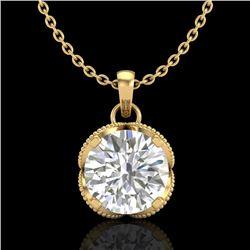 1.13 CTW VS/SI Diamond Solitaire Art Deco Necklace 18K Yellow Gold - REF-217M3F - 36865