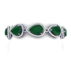42.47 CTW Royalty Emerald & VS Diamond Bracelet 18K White Gold - REF-654K5R - 39555
