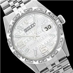 Rolex Ladies Stainless Steel, Arabic Dial with Pyrimid Diam Bezel, Saph Crystal  - REF-360F2M
