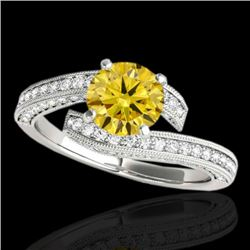 2 CTW Certified Si Fancy Intense Yellow Diamond Bypass Solitaire Ring 10K White Gold - REF-227X3T -