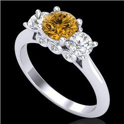 1.5 CTW Intense Fancy Yellow Diamond Art Deco 3 Stone Ring 18K White Gold - REF-174Y5N - 38267