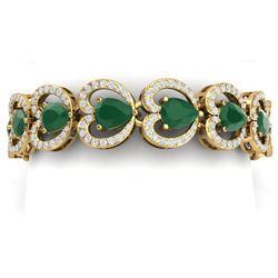 32.15 CTW Royalty Emerald & VS Diamond Bracelet 18K Yellow Gold - REF-690K9R - 38687