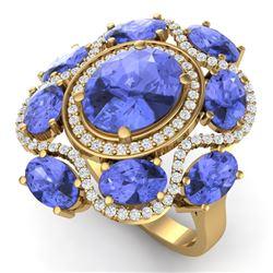 9.67 CTW Royalty Tanzanite & VS Diamond Ring 18K Yellow Gold - REF-245T5X - 39302