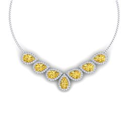 33.34 CTW Royalty Canary Citrine & VS Diamond Necklace 18K White Gold - REF-527Y3N - 38838