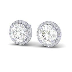 3.50 CTW VS/SI Diamond Certified Earrings 18K White Gold - REF-942X5T - 21489