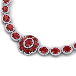 79.27 CTW Royalty Ruby & VS Diamond Necklace 18K White Gold - REF-1309F3M - 39222