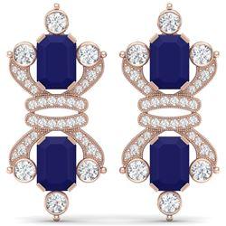 27.36 CTW Royalty Sapphire & VS Diamond Earrings 18K Rose Gold - REF-600M2F - 38767