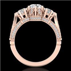 2.18 CTW VS/SI Diamond Art Deco 3 Stone Ring 18K Rose Gold - REF-270M2F - 37248