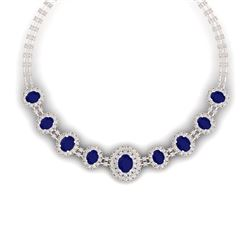45.69 CTW Royalty Sapphire & VS Diamond Necklace 18K Rose Gold - REF-1581M8F - 38797