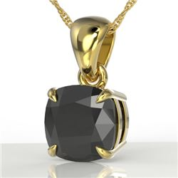 3 CTW Cushion Cut Black VS/SI Diamond Designer Necklace 18K Yellow Gold - REF-77K3R - 21936