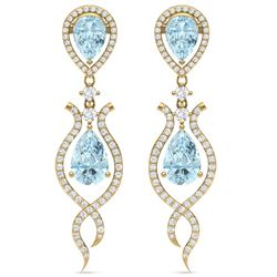 16.57 CTW Royalty Sky Topaz & VS Diamond Earrings 18K Yellow Gold - REF-290T9X - 39521