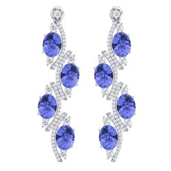 16.23 CTW Royalty Tanzanite & VS Diamond Earrings 18K White Gold - REF-354X5T - 38985