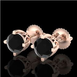 1.5 CTW Fancy Black Diamond Solitaire Art Deco Stud Earrings 18K Rose Gold - REF-70R9K - 38067