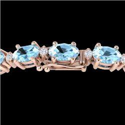 10 CTW Aquamarine & VS/SI Diamond Certified Eternity Bracelet 10K Rose Gold - REF-102K2R - 21439