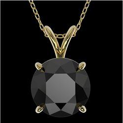 2.09 CTW Fancy Black VS Diamond Solitaire Necklace 10K Yellow Gold - REF-54F2M - 36813