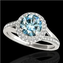 1.85 CTW SI Certified Fancy Blue Diamond Solitaire Halo Ring 10K White Gold - REF-218M2F - 34128