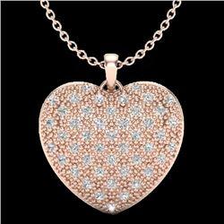 1.0 Designer CTW Micro Pave VS/SI Diamond Heart Necklace 14K Rose Gold - REF-87T3X - 20489