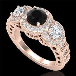 2.16 CTW Fancy Black Diamond Solitaire Art Deco 3 Stone Ring 18K Rose Gold - REF-254T5X - 37668