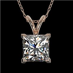 1.25 CTW Certified VS/SI Quality Princess Diamond Necklace 10K Rose Gold - REF-367H3W - 33215