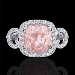 2.75 CTW Morganite & Micro VS/SI Diamond Certified Ring 18K White Gold - REF-83R3K - 23006