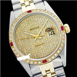 Rolex Ladies Two Tone 14K Gold/SS, Diam Pave Dial & Diam/Ruby Bezel, Saph Crystal - REF-420X2A