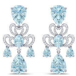 60.32 CTW Royalty Sky Topaz & VS Diamond Earrings 18K White Gold - REF-400M2F - 38679