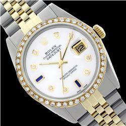 Rolex Men's Two Tone 14K Gold/SS, QuickSet, Diam Dial & Diam/Sapphire Bezel - REF-490M9H