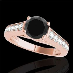 1.5 CTW Certified Vs Black Diamond Solitaire Ring 10K Rose Gold - REF-72K2R - 34902