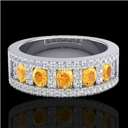 2 CTW Citrine & Micro VS/SI Diamond Certified Inspired Ring 10K White Gold - REF-60K2R - 20822