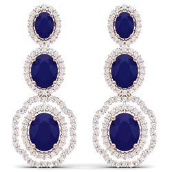 17.51 CTW Royalty Sapphire & VS Diamond Earrings 18K Rose Gold - REF-345T5X - 39208