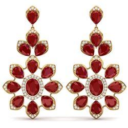 51.8 CTW Royalty Designer Ruby & VS Diamond Earrings 18K Yellow Gold - REF-527F3M - 39050