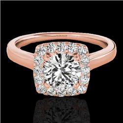 1.37 CTW H-SI/I Certified Diamond Solitaire Halo Ring 10K Rose Gold - REF-167Y3N - 33410