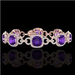 30 CTW Amethyst & Micro VS/SI Diamond Certified Bracelet 14K Rose Gold - REF-368H9W - 23016