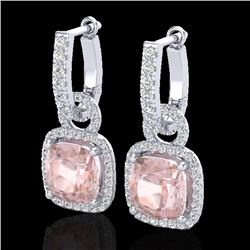 5.50 CTW Morganite & Micro Pave VS/SI Diamond Halo Earrings 18K White Gold - REF-163W5H - 22966