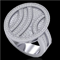 1.25 CTW Micro Pave VS/SI Diamond Certified Ring 14K White Gold - REF-111T3X - 20876