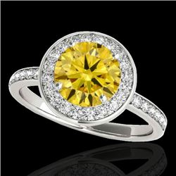 1.5 CTW Certified Si Fancy Intense Yellow Diamond Solitaire Halo Ring 10K White Gold - REF-129R5K -